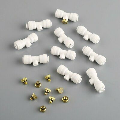 "10pcs/pack 1/4"" Slip-Lok 10/24 thread Misting Nozzle Tees with Nozzle+ 1 Plug"