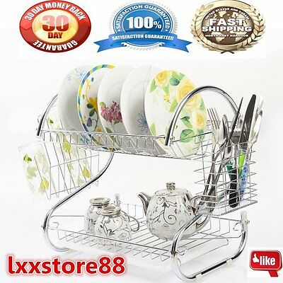 Kitchen organization holder 2 Tier Stainless Steel Dish Drainer Drying Rack US
