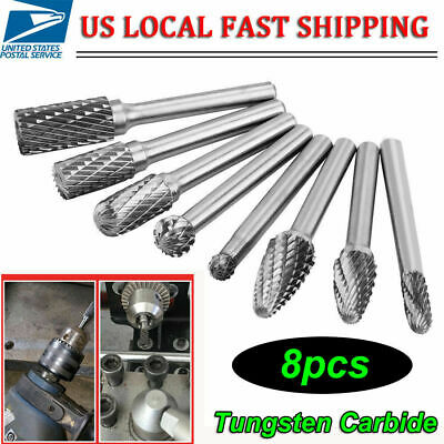 8 Pcs 14 Inch Shank Double Cut Carbide Rotary Burr Bits Set For Die Grinder Usa
