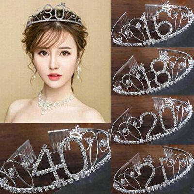 40th Birthday Tiara Crown (NEW Women Anniversary Birthday 18-40th Silver Rhinestone Tiara Crown)