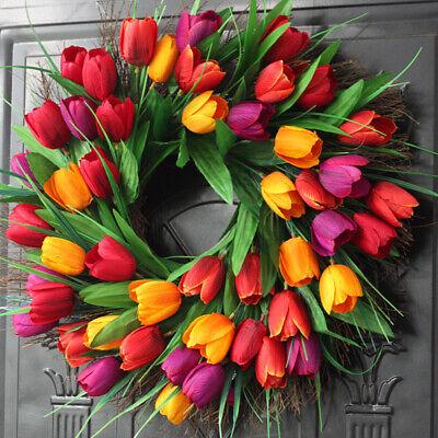 Artificial Tulip Spring Wreath Hanging Garland Wedding Home Door Wall Decor