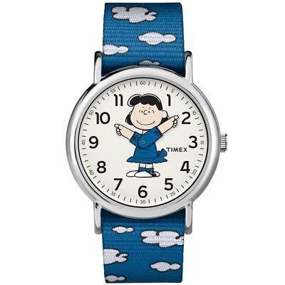 Timex TW2R41300, Peanuts-Lucy Weekender Blue Slip Thru Fabric Watch