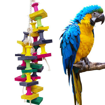 Wood Parrot Pet Bird Chew Hang Toys Large Rope Cave Ladder Chew Toy Cute
