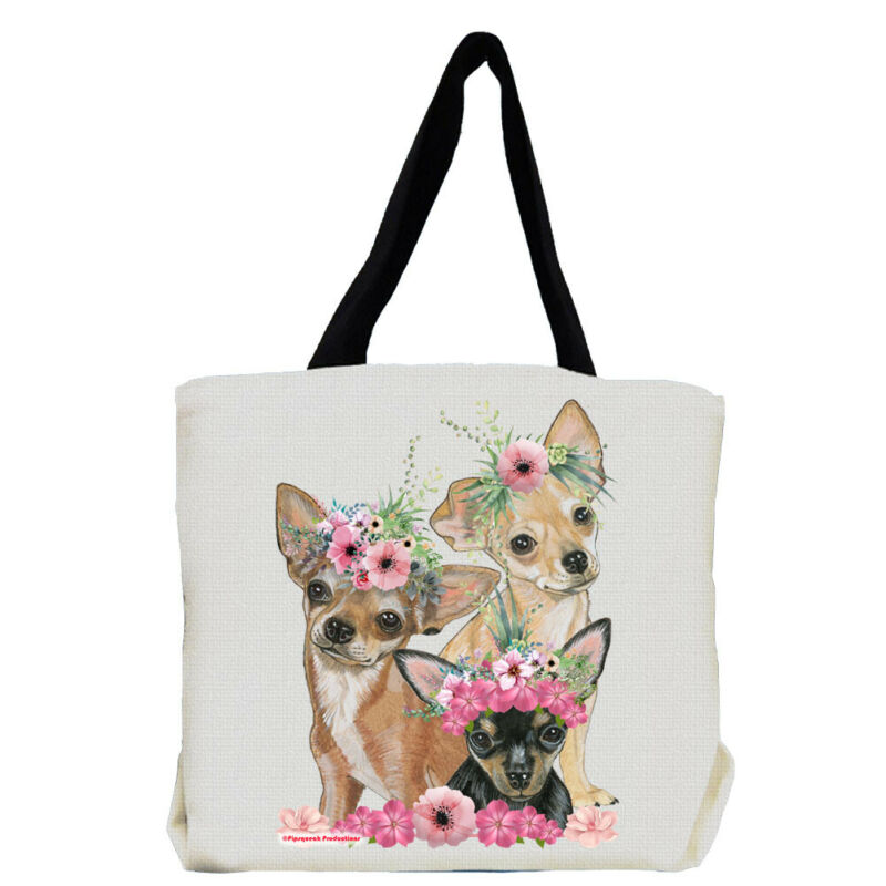 Chihuahua Dog with Flowers Tote Bag