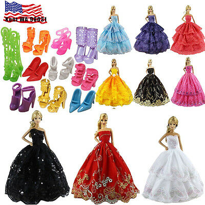 US STOCK Lot Random 6 Dresses + 10 Shoes Wedding Party Clothes For Barbie Doll