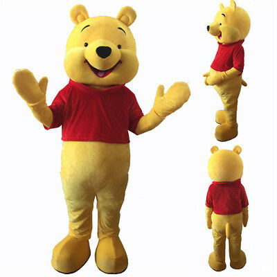 Xmas Winnie the Pooh Mascot Costume Cartoon Bear Outfit Fancy Party Dress - Costume Cartoon