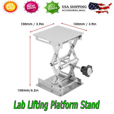 4 X 4 100mm Stainless Steel Lab Stand Scissor Platform Lift Lifting Rack Table