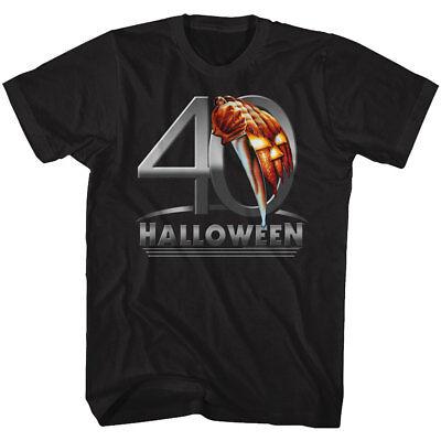 Halloween 40 Yrs Pumpkin & Michael Meyers Knife Adult T Shirt Great Scary Movie