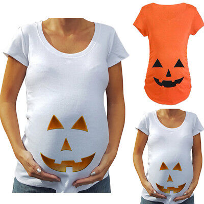 Pregnant Maternity Women Halloween Pumpkin Carved Face T-shirt Pregnancy Tops - Maternity Halloween Top