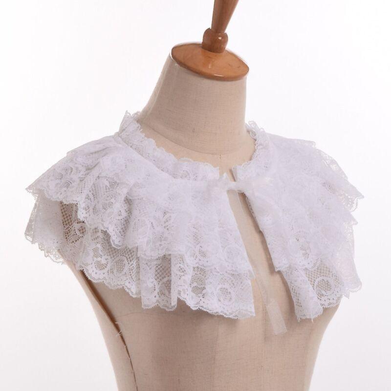 White Lace Detachable Collar Jabot Lolita Girls Neckwear Victorian Mini Cape
