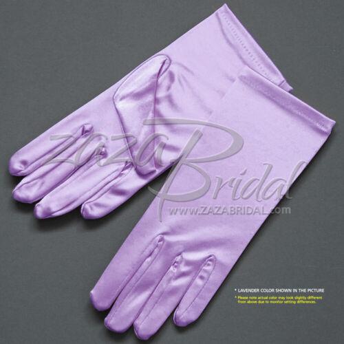 Shiny Stretch Satin Dress Gloves 2BL - Wrist Length, Various Colors