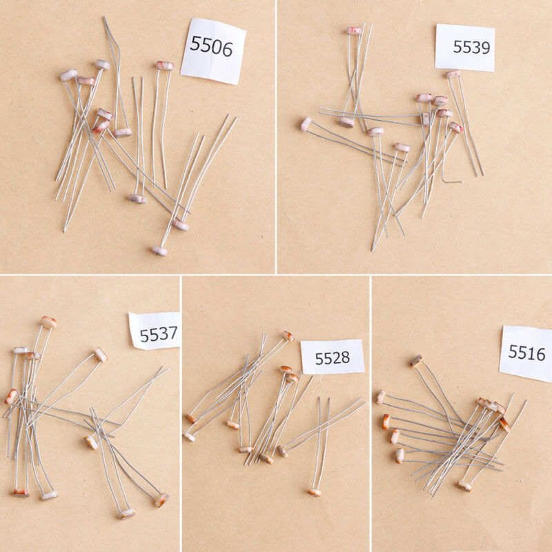 5 Types 10 Pcs Photoresistor Dependent Light Resistor LDR Pack For Arduino Kit