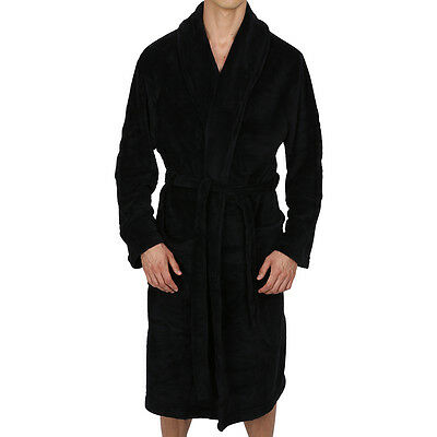 Mens Black Robe (Mens-ROBE-Bathrobe- Shawl-BLACK- Coral Fleece-SUPER SOFT Heavy Weight USA)