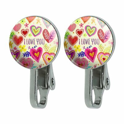 I Love You Valentine's Day Hearts Novelty Clip-On Stud Earrings