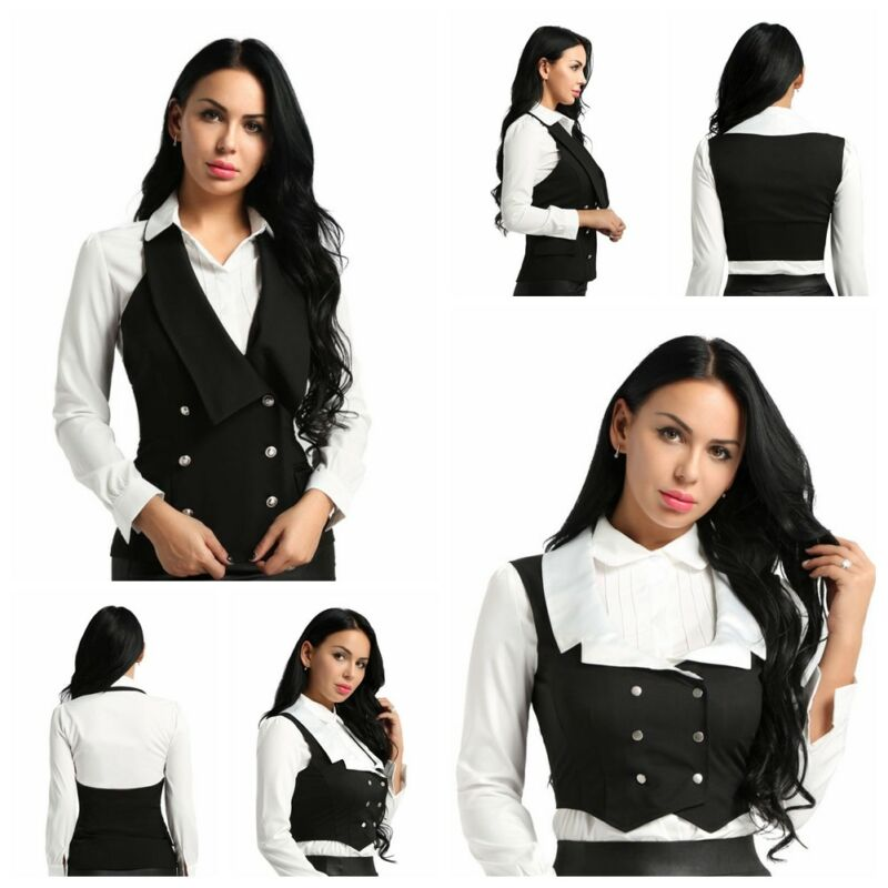 Womens Vintage Steampunk Formal Party Vest Tuxedo Suit Costumes Waistcoat Jacket