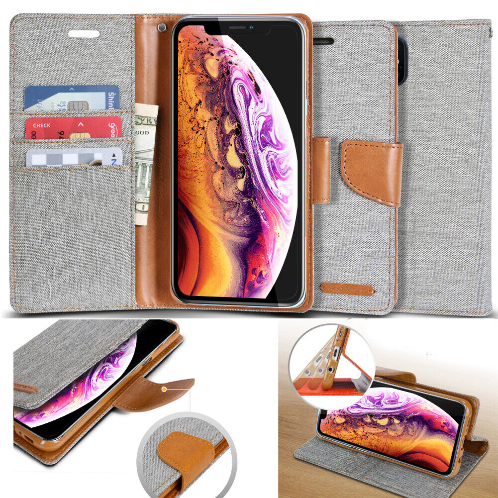 For Samsung / LG / Apple Luxury Flip Cover Wallet Card Leath
