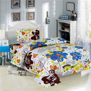 Jungle Theme Kids Bedding Twin 3 Pcs Boys Girls Bed Sheet Set, Soft White
