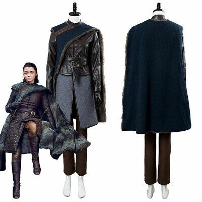 2019 Game of thrones Season 8 Arya Stark Cosplay Costume Outfit Cape Full Set (Arya Game Of Thrones Costume)