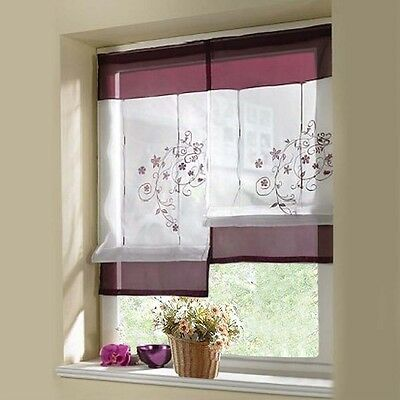 Plain Sheer Roman Curtains Blinds Embroidered Curtain Kitchen Window Balcony