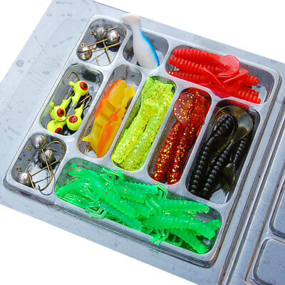 Kit pesca pescatore 35 esche artificiali morbide + 10 ami mosca mosche esca