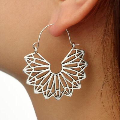 Vintage Women Hollow Geometric Triangular Fan Shape Dangle Hoop Earrings New