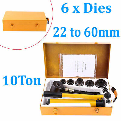 10 Ton Hydraulic Metal Hole Punch Knockout Set W 6 Dies Tool Hand Pump 22-60mm
