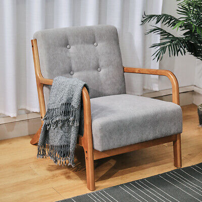 Retro Solid Wooden Frame Upholstered Tufted Armchair Button Accent Chair Sofa UK