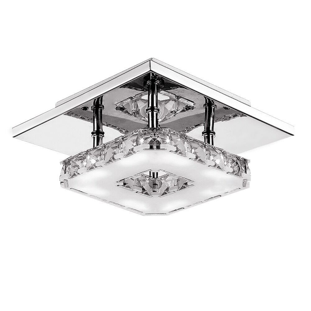 Contemporary Ceiling Lamps: Modern Crystal LED Ceiling Pendant Lamp Stainless Steel