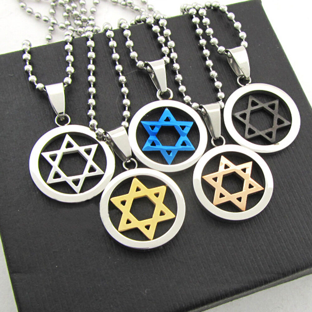 Mens Womens Cool Stainless Steel Six-Pointed Star Pendant Necklace Best Gift US Fashion Jewelry