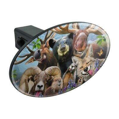 Rocky Mountain Selfie Bear Moose Elk Oval Tow Trailer Hitch Cover Plug Insert