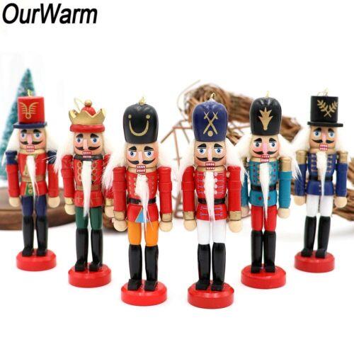 6Pcs Wooden Nutcracker Doll Soldier Mini Vintage Ornaments C