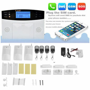 Wireless Wired LCD GSM Home House Alarm System Security Burglar Sensors S2