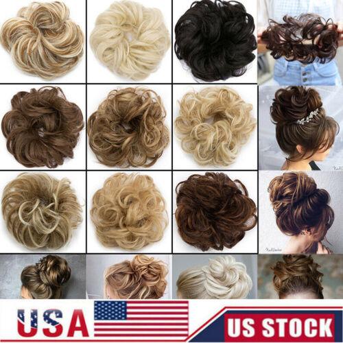Fast Real Natural Curly Messy Bun Hair Piece Scrunchie Hair
