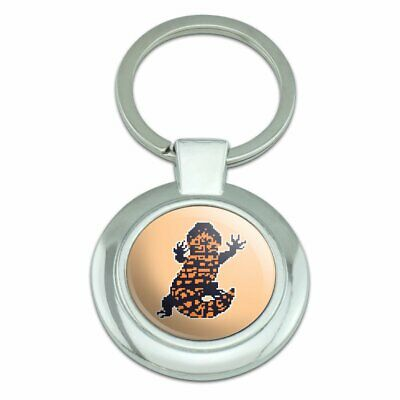 Gila Monster Pixel Lizard Classy Round Chrome Plated Metal Keychain for sale  Shipping to Canada