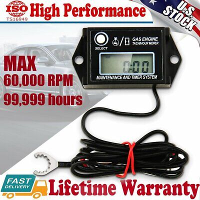Tiny Waterproof Digital Tachometer Tach Hour Meter Job Timer Resettable Briggs