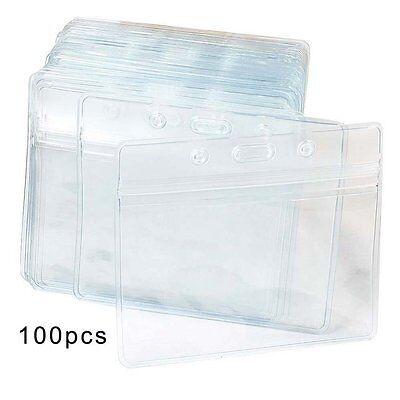 100 Pcs Clear Plastic Horizontal Name Tag Badge ID Card Holders