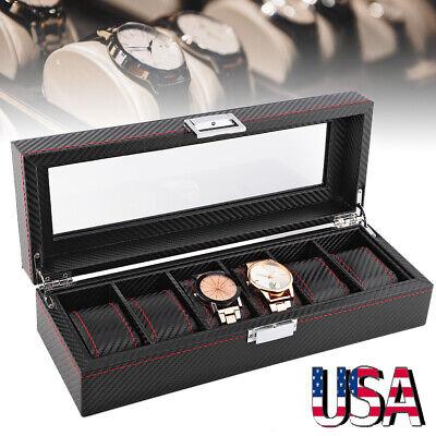 Black Carbon Fiber 5/6/10/12 Slot Watch/Jewelry Storage Display Case Box