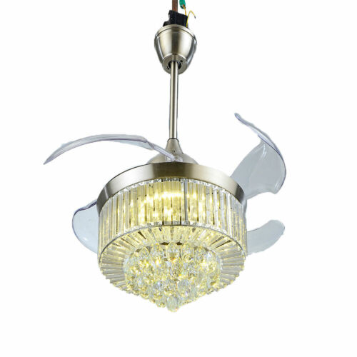 """42"""" Invisible Ceiling Fan Light Crystal Chandelier Pendant Lamp w/Remote - Silver 8"""