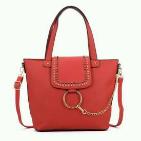 Studded Tote Bag With Ring Detail And Chain