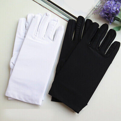 Short White Gloves (1Pair Black White Etiquette Short Gloves Stretch Spandex Sun Protection)