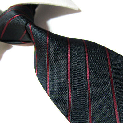 Black Polyester Extra Long Ties - Extra Long  Tie Mircofibre XL Black/Red Striped Polyester Necktie 63