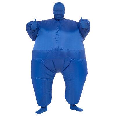 Blau Fett Anzug Aufblasbar Kostüm Overall Jump Sport Fächer Erwachsener - Lustig Fett Kostüm