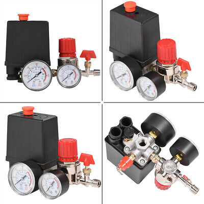 Air Compressor Valve 90-120PSI Manifold Gauges Regulator Pressure Control Switch