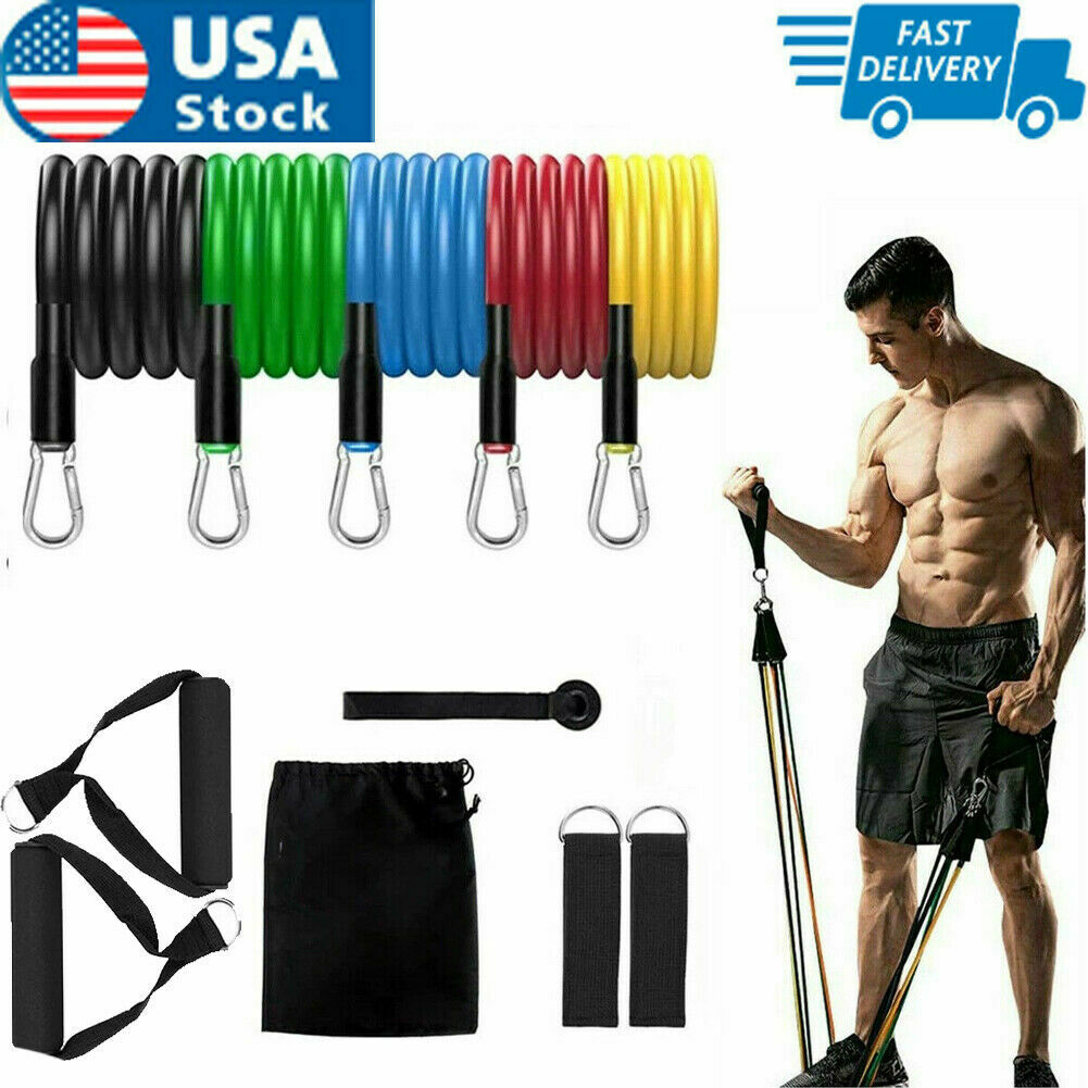 11 PCS Resistance Band Set Yoga Pilates Abs Exercise Fitness Tube Workout Bands Fitness Equipment & Gear