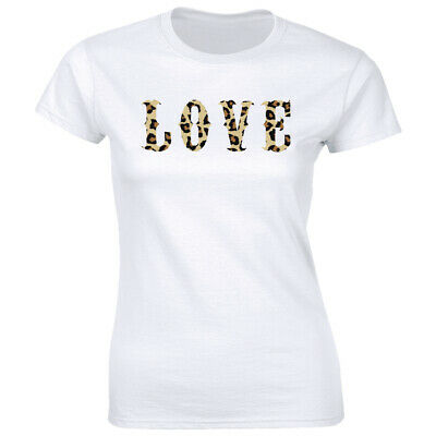 Love with Leopard Print Design White Crew Neck T-Shirt for Women Casual Crew Neck Design