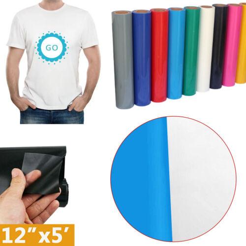 "Heat Transfer Vinyl Rolls - 12"" x 5FT Iron on Heat Press HTV Vinyl for T-shirt"