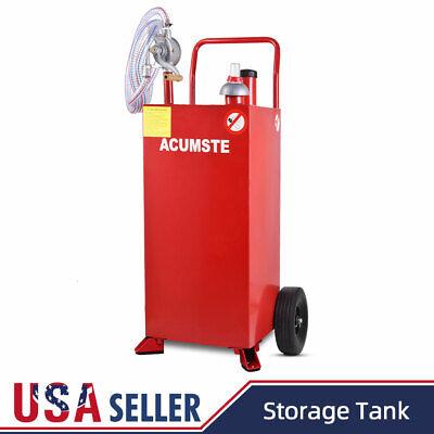 30 Gallon Gas Caddy Tank Storage Gas Diesel Fuel Transfer Wired Hose W Pump Red