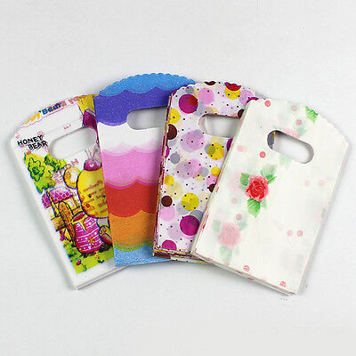 50pcs Carton Cute 9*15cm  Packaging Bags Plastic Shopping Bags With Handle