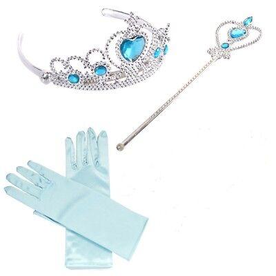 Principessa Frozen Blu Corona Tiara Bacchetta Magica Guanti Set Regalo Elsa Da
