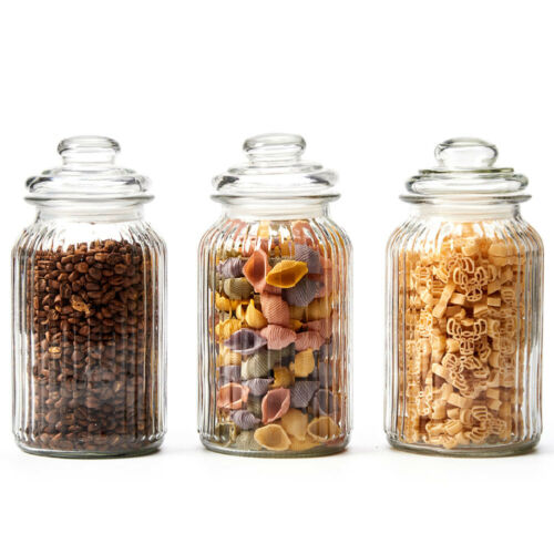 3pc Large Glass kitchen Storage Canister food Airtight Jars